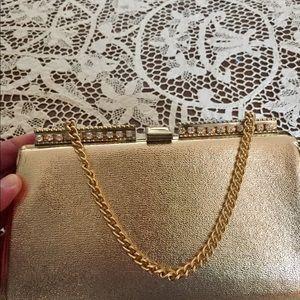 Handbags - 1950s VTG Gold Metallic Clutch Purse Hidden Chain